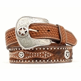 Nocona 1/2 Hair 1/2 Tooled Star Conchos Belt 2506808
