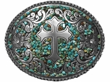 Nocona Oval Silver Buckle with Turquoise Accents 37914