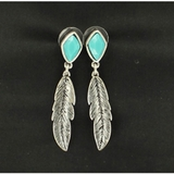 Blazin Roxx Turquoise Drop Feather Earrings 30612