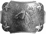 Nocona Youth Horse Star Rectangle Belt Buckle 3603007