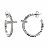 Montana Silversmiths Rhinestone Cross and Rope Hoop Earrings ER3072