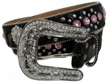 Nocona Black Leather & Hair Belt with Pink Stones and Conchos 3512401