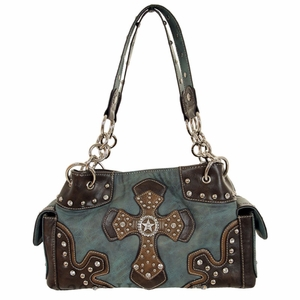 Nocona Blue and Brown Faux Leather w/ Cross & Star Purse N7516027