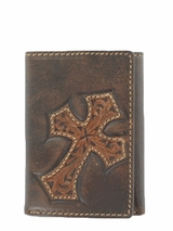 Nocona Dark Brown Diagonal Cross Tri-Fold Wallet N5487244