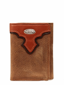 Nocona Distressed Brown with Copper Scallop Tri-Fold Wallet N54826216