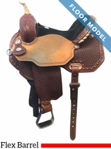 "PRICE REDUCED! 14"" Circle Y Ambition Wide Flex2 Barrel Saddle 1550, Floor Model"