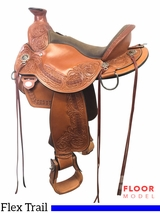 "PRICE REDUCED! 15"" Circle Y Walnut Grove Wide Flex2 Trail Saddle 1157, Floor Model"