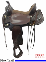 "PRICE REDUCED! 17"" Circle Y Carlsbad Medium Flex Trail Saddle 2376, Floor Model"