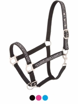 Tough-1 Nylon Halter with Glittery Zebra Print and Satin Hardware
