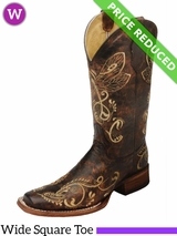 Women's Circle G by Corral Distressed Brown-Bone Dragonfly Embroidery Boots L5079 CLEARANCE