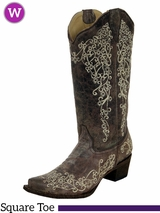 Women's Corral Crater Bone Embroidery Boot A1094
