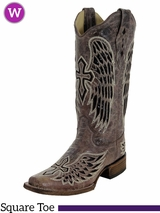 Women's Corral Brown/Black Wing & Cross Sequence Boots A1197