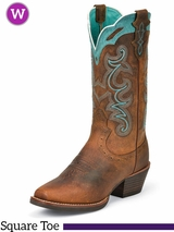 Women's Justin Tan Silver Collection Boots w/ Turquoise Accents SVL7311