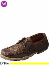 Women's Twisted X Brown/Embossed Flowers Driving Moccasins WDM0070