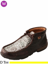 Women's Twisted X Brown/Turquoise Print Driving Moccasins WDM0078