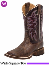 Women's Wide Square Toe Yancey Burgundy Boots BR372