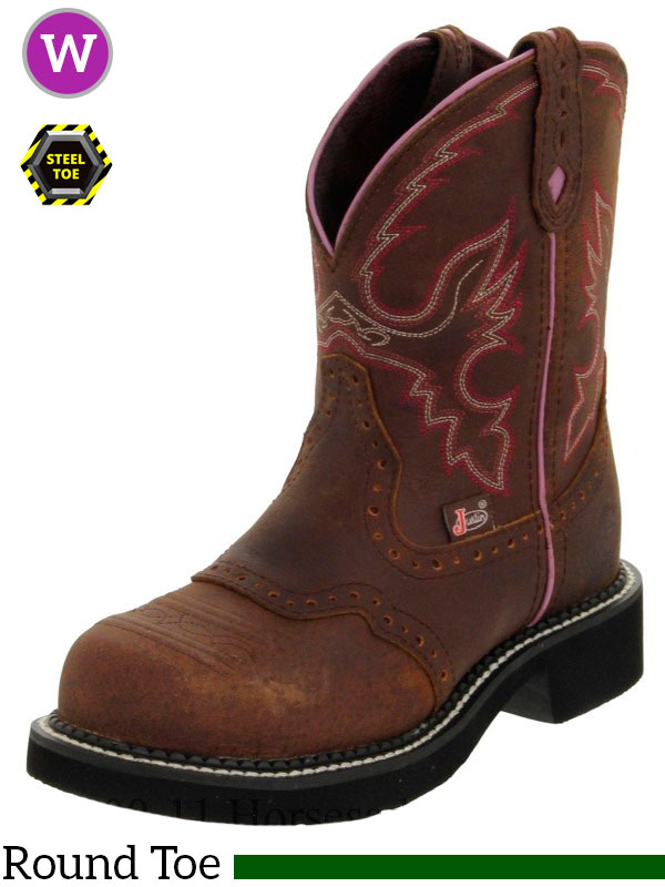 Pink Justin Cowgirl Boot with Steel Toe 9980
