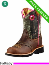 Youth 2 - Kid's Ariat Rough Brown Fatbaby Cowgirl Boots 10008724 CLEARANCE
