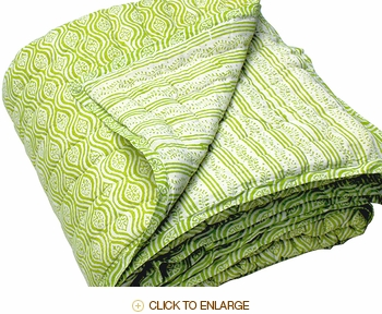 Tilonia Home: Queen Quilt - Mod Pod & Centipede Stripe in Green Apple