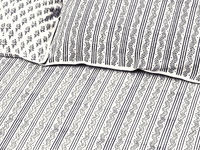 Tilonia Home: Twin Duvet Set - Centipede Stripe & Sprig in Grey