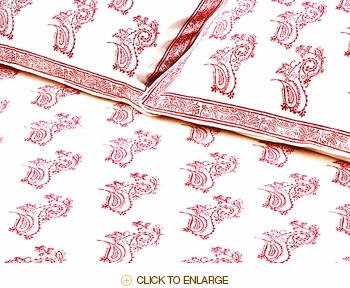 Tilonia Home: Twin Duvet Set - Fancy Paisley in Cranberry Red