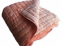 Tilonia Home: Queen Quilt - Mod Pod & Centipede Stripe in Pumpkin Orange