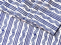 Tilonia Table Linen & Napkin Set for 6 - Centipede Stripe in Blueberry