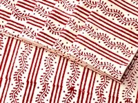 Tilonia Table Linen & Napkin Set for 6 - Centipede Stripe in Cranberry Red