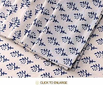 Tilonia Table Linen & Napkin Set for 6 - Sprig in Blueberry
