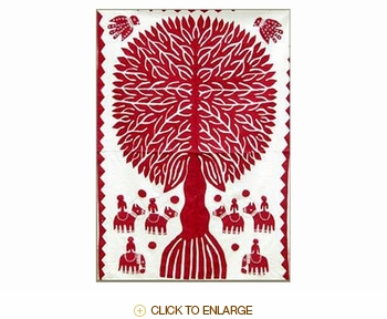 "Tilonia® Wall Hanging - Tree of Life Applique in Red - 32"" x 52"""