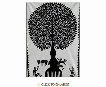 "Tilonia® Wall Hanging - Tree of Life Applique in Black - 32"" x 52"""