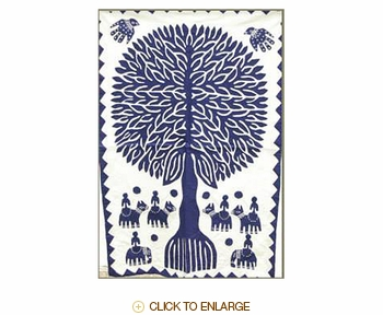 "Tilonia® Wall Hanging - Tree of Life Applique in Blue - 24"" x 36"""