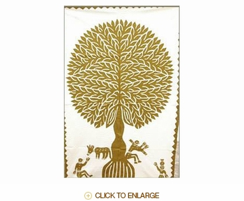"""Tilonia® Wall Hanging - Tree of Life Applique in Gold - 32"""" x 52"""""""