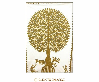 """Tilonia® Wall Hanging - Tree of Life Applique in Gold - 24"""" x 36"""""""