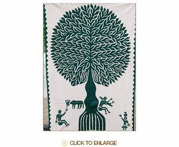 """Tilonia® Wall Hanging - Tree of Life Applique in Green - 24"""" x 36"""""""