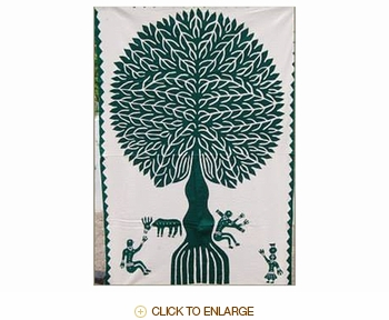 "Tilonia® Wall Hanging - Tree of Life Applique in Green - 32"" x 52"""