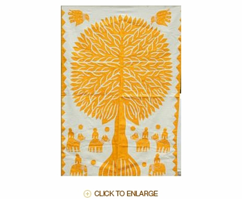 "Tilonia® Wall Hanging - Tree of Life Applique in Yellow - 24"" x 36"""