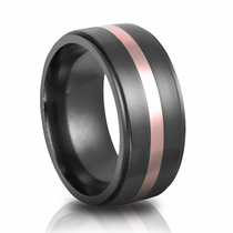 10mm Black Zirconium & Rose Gold Wedding Band by Heavy Stone Rings