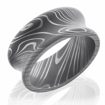 10mm Concave Damascus Ring With Acid Finish by Lashbrook