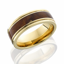 14K Yellow Gold and Desert Ironwood Ring by Lashbrook Designs