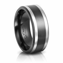 9mm Black Titanium & Sterling Silver Wedding Band by Edward Mirell