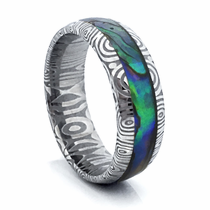 Abalone and Damascus Steel Ring by Heavy Stone Rings