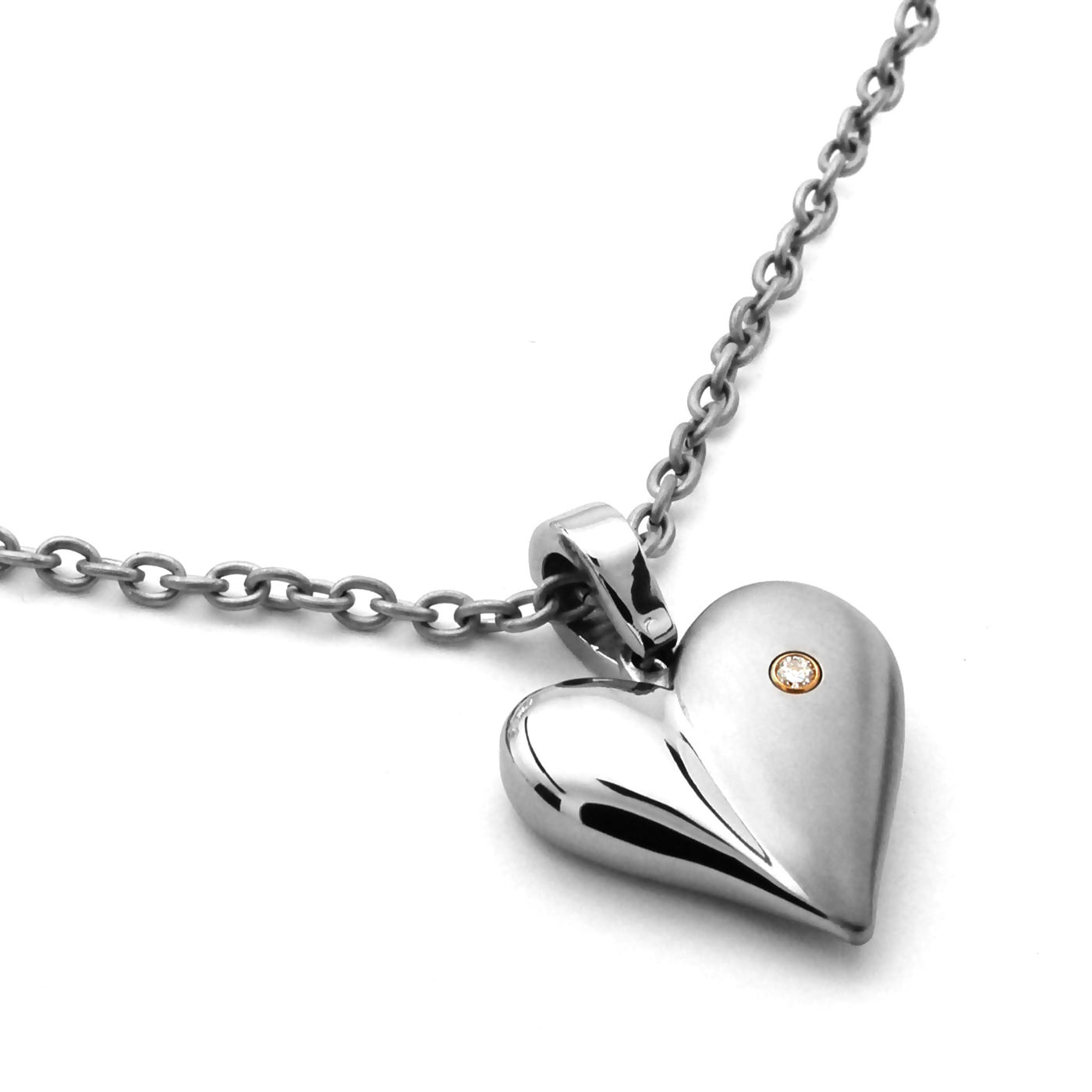 Edward Mirell Ladies Titanium & Diamond Heart Pendant Necklace