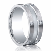 BENCHMARK Argentium Sterling Silver and Diamond Center Grooved Ring