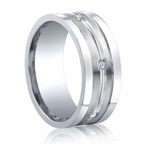 BENCHMARK Argentium Sterling Silver and Diamond Ring with Raised Edges