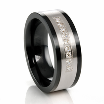 BENSON Titanium and Sterling Silver Ring with Channel Set Diamonds by TRITON