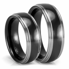 Black and Grey Zirconium Wedding Bands - His & Her Set