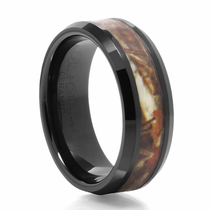 Black Ceramic Camouflage Ring Buck - by Heavy Stone Rings
