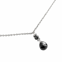 Black Diamond Drop Necklace by belloria