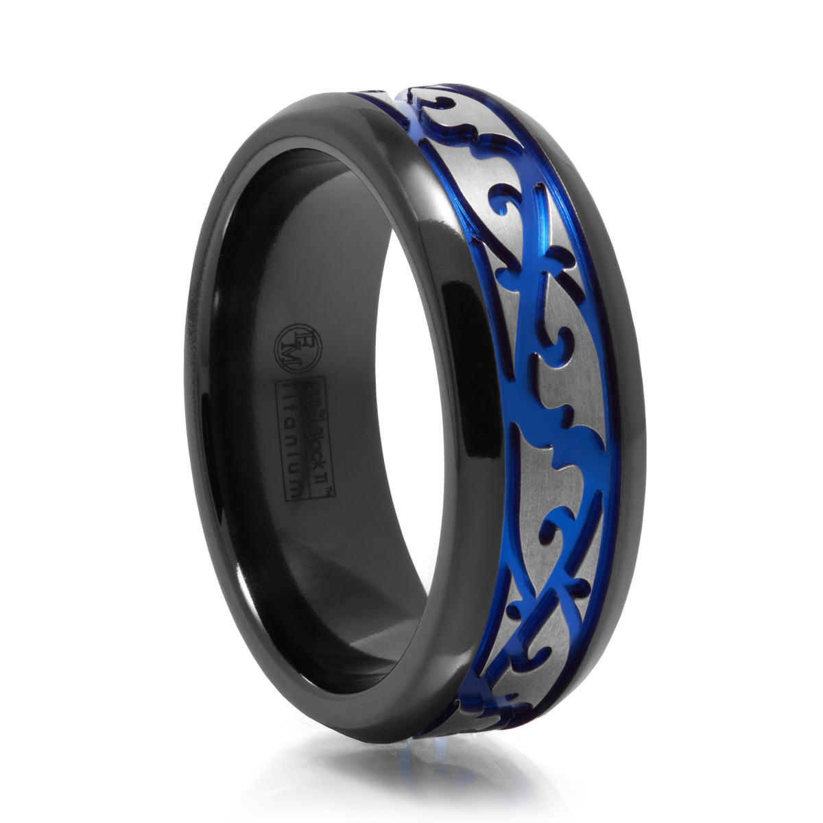 mens paisley design black titanium ring w blue groove - Black And Blue Wedding Rings